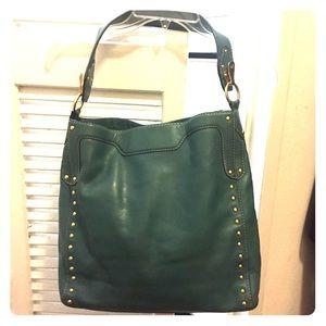 Michael kors teal / gold stud leather shoulder bag